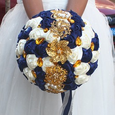 Round Satin/Imitation Pearl Bridal Bouquets (Sold in a single piece) -