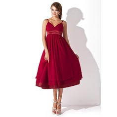 Empire Sweetheart Knee-Length Chiffon Chiffon Maternity Bridesmaid Dress With Ruffle (045004378)