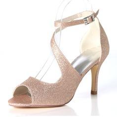 Vrouwen Sprankelende Glitter Stiletto Heel Pumps Sandalen met Gesp
