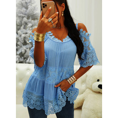 Regular Cotton Blends Cold Shoulder Lace Solid 3XL L S M XL XXL Blouses (1003256692)