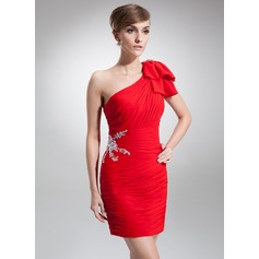 Sheath/Column One-Shoulder Short/Mini Chiffon Cocktail Dress With Ruffle Beading Bow(s)