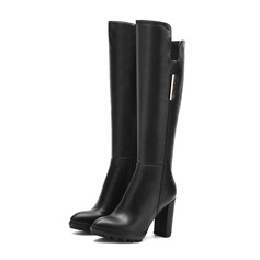 Women's Leatherette Chunky Heel Pumps Knee High Boots With Sequin Zipper shoes