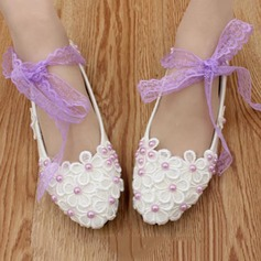 Women's Leatherette Low Heel Closed Toe Pumps With Imitation Pearl Flower Lace-up Braided Strap