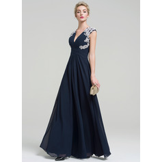 A-Line V-neck Floor-Length Chiffon Evening Dress With Appliques Lace (271253241)