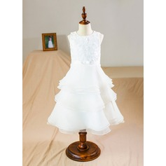 A-Line/Princess Tea-length Flower Girl Dress - Organza/Lace Sleeveless Scoop Neck With Ruffles/Bow(s)