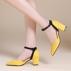 Women's Suede Chunky Heel Sandals Flats With Buckle shoes