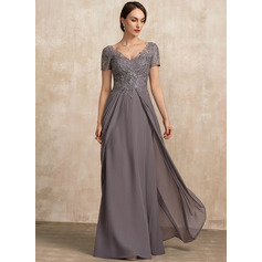 V-neck Floor-Length Chiffon Lace Mother of the Bride Dress (267233700)