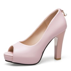Women's Leatherette Chunky Heel Pumps Platform Peep Toe With Bowknot shoes
