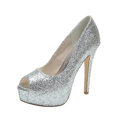 Women's Sparkling Glitter Stiletto Heel Peep Toe Platform Pumps Sandals