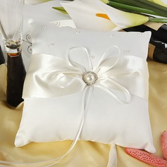 Eternity Ring Pillow in Satin With Faux Pearl