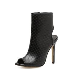 De mujer PU Tacón stilettos Salón Botas Encaje Solo correa Botas al tobillo con Cremallera zapatos