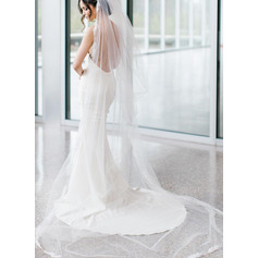 One-tier Cut Edge Cathedral Bridal Veils With Faux Pearl