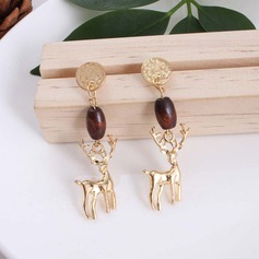Nice Alloy Wooden Beads Women's Fashion Earrings (Set of 2)