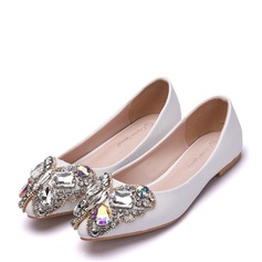 Women's Leatherette Flat Heel Closed Toe Flats With Imitation Pearl