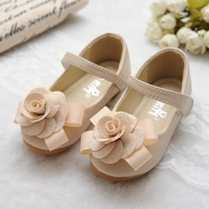 Girl's Round Toe Mary Jane Leatherette Flat Heel Flats Flower Girl Shoes With Bowknot Satin Flower Velcro