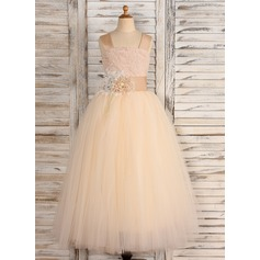Ball Gown Floor-length Flower Girl Dress - Tulle/Lace Straps With Flower(s)