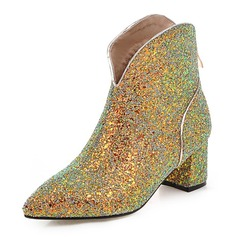 Women's Sparkling Glitter Chunky Heel Pumps Closed Toe Boots Ankle Boots shoes