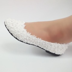 Women's Leatherette Flat Heel Closed Toe With Beading Stitching Lace