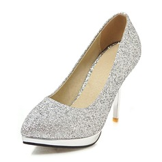 Women's Leatherette Stiletto Heel Platform Pumps With Sequin