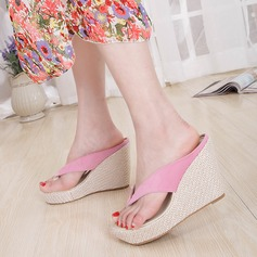 Women's Velvet Wedge Heel Flip-Flops Peep Toe Platform Wedges