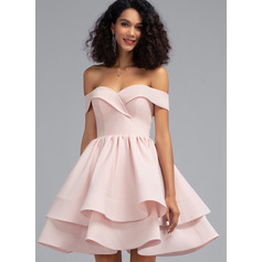 A-Line Off-the-Shoulder Short/Mini Stretch Crepe Prom Dresses With Cascading Ruffles