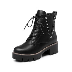 Leatherette Chunky Heel Platform Closed Toe Ankle Boots With Rivet Braided Strap shoes