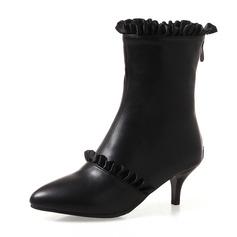 Kvinner Lær Stiletto Hæl Pumps Lukket Tå Støvler Ankelstøvler Mid Leggen Støvler med Ruched Glidelås sko