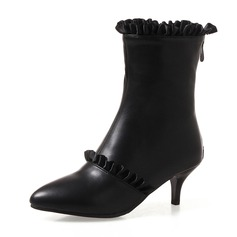 Frauen Kunstleder Stöckel Absatz Absatzschuhe Geschlossene Zehe Stiefel Stiefelette Stiefel-Wadenlang mit Geraffte Reißverschluss Schuhe