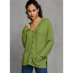 Chunky knit Solid Pocket Polyester Hooded Cardigans Sweaters (1002223205)