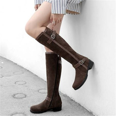 Women's Suede Chunky Heel Knee High Boots With Buckle Zipper shoes