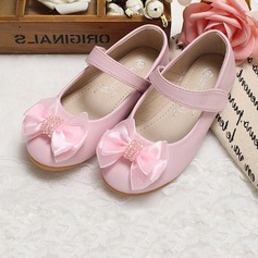 Girl's Closed Toe Leatherette Flat Heel Flats Flower Girl Shoes With Bowknot