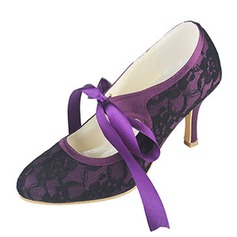 Women's Lace Silk Like Satin Stiletto Heel Closed Toe Pumps With Bowknot