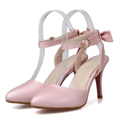 Women's Leatherette Stiletto Heel Sandals Pumps Closed Toe Slingbacks With Buckle shoes (085207047)