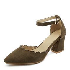 المرأة جلدي كعب مكتنز صنادل مضخات تو مغلقة مع مشبك أحذية