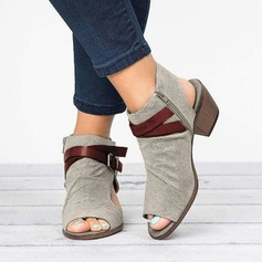 Women's Suede Chunky Heel Sandals shoes