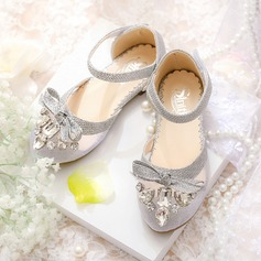 Girl's Mesh Flat Heel Closed Toe Flats With Bowknot Rhinestone