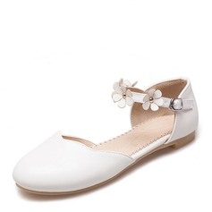 Women's PU Flat Heel Flats Closed Toe With Flower shoes (086155468)