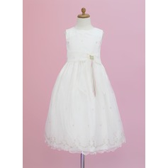 A-Line/Princess Ankle-length Flower Girl Dress - Organza Sleeveless Scoop Neck With Flower(s)/Bow(s)