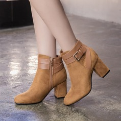 Women's Suede Chunky Heel Pumps Boots Ankle Boots With Buckle Zipper shoes