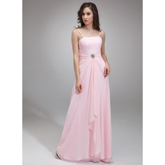 A-Line/Princess Square Neckline Floor-Length Chiffon Bridesmaid Dress With Ruffle Crystal Brooch