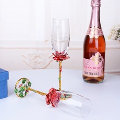 Personalized Elegant/Beautiful Toasting Flutes With Flowers (Set Of 2)