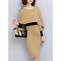 Polyester With Stitching Knee Length Dress (199136839)
