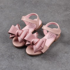 Girl's Leatherette Low Heel Sandals Flats Flower Girl Shoes With Bowknot