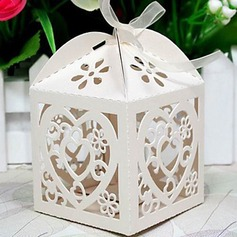 Heart Shape Laser Cut Cubic Favor Boxes With Ribbons  (050024288)