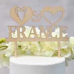 Personalized Double Hearts/Mr. & Mrs. Wood Cake Topper (Sold in a single piece)