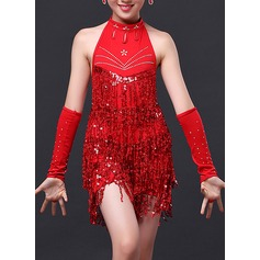 Kids' Dancewear Polyester Latin Dance Dresses (115112623)