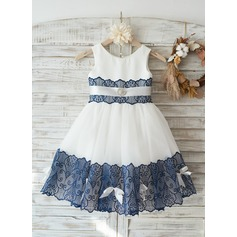 Ivory Satin Tulle Wedding Flower Girl Knee-length Dress with Navy Blue Lace Bow Belt