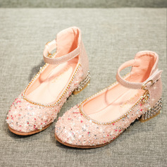 Pike Lukket Tå Microfiber Lær Flower Girl Shoes med Spenne Rhinestone