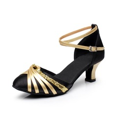 Women's Satin Leatherette Heels Pumps Ballroom With Ankle Strap Dance Shoes
