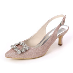 Women's Sparkling Glitter Low Heel Sandals With Rhinestone